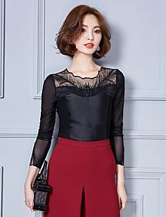 billige Klassiske sorte toppe-Dame-Patchwork Basale Bluse