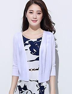 baratos Suéteres de Mulher-Mulheres Casual Carregam - Sólido, Com Transparência / Fenda / Decote em V Profundo / Decote em V Profundo / Primavera / Outono