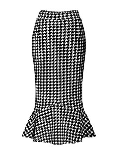 Women's Houndstooth Black Skirts,Street chic Midi