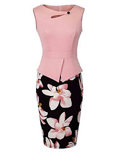 cheap Print Dresses-Women's Plus Size Sheath Dress - Floral, Cut Out Print