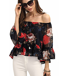 Women's Going out Sexy Street chic All Seasons Blouse,Floral Boat Neck Long Sleeves Polyester Thin