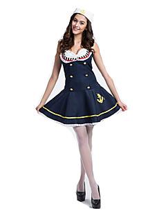 billige Halloweenkostymer-Matros Cosplay Kostumer Party-kostyme Dame Jul Halloween Nytt År Festival / høytid Halloween-kostymer Marineblå Fargeblokk Maritime