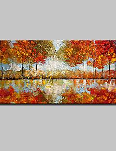baratos Paisagens Abstratas-Pintados à mão Abstracto / Paisagem / Floral/Botânico / Paisagens Abstratas Pinturas a óleo,Modern / Estilo Europeu 1 Painel Tela
