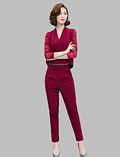 Women's Going out Street chic Fall Set PantSolid V Neck Long Sleeve Red / Black / Green Polyester Medium