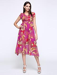 여성의 쉬폰 드레스 캐쥬얼/데일리 / 플러스 사이즈 보호 / 스트리트 쉬크 플로럴,V 넥 맥시 짧은 소매 레드 / 그린 / 퍼플 실크 여름