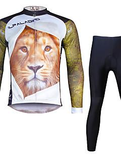 ILPALADINO שרוול ארוך חולצה וטייץ לרכיבה לגברים אופניים מדים בסטיםנושם ייבוש מהיר עמיד אולטרה סגול דחיסה חומרים קלים 3D לוח רצועות מחזירי