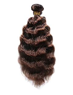 Păr Natural Păr Indian Precolored Țesăturile de par Ondulat Tare Extensii de par 1 Bucată Maro Medium