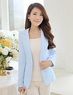 Women's Work Simple Spring Fall Blazer,Solid Simple Notch Lapel Long Sleeve Regular Rayon