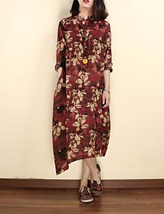 Χαμηλού Κόστους Chinoiserie Dresses-Γυναικεία Κινεζικό στυλ Φαρδιά Φόρεμα - Φλοράλ Μίντι Όρθιος Γιακάς