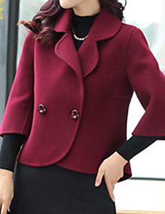 女性 プラスサイズ 秋 冬 ソリッド コート,ストリートファッション ノッチドラペル レッド ホワイト ポリエステル 長袖 厚手