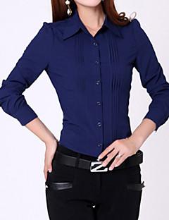 婦人向け フォーマル オールシーズン シャツ,シンプル ソリッド ブルー / ホワイト 長袖 ミディアム