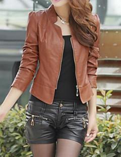 Women's CasualStand Collar Zipper Long Sleeve PU Medium Jackets