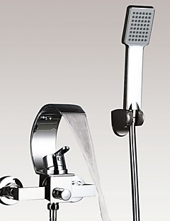 billige Foss-Moderne Art Deco/Retro Badekar Og Dusj Foss Hånddusj Inkludert Keramisk Ventil To Huller Enkelt håndtak To Huller Krom, Badekarskran