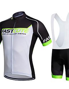 billiga Cykling-Fastcute Herr / Dam Kortärmad Cykeltröja med Haklapp-shorts - Svart Cykel Bib Shorts / Tröja / Bib Tights, 3D Tablett, Snabb tork, Andningsfunktion Polyester, Lycra / Elastisk / Svettavvisande