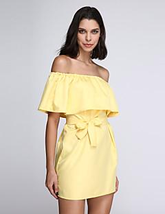 婦人向け セクシー / ストリートファッション ルーズ ドレス,ソリッド 膝上 ボートネック ポリエステル