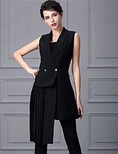 Baoyan® 女性 ピーターパンカラー ノー・スリーブ 膝上 ドレス-888067
