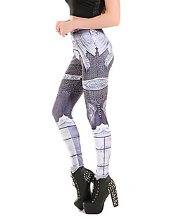 cheap Women's Pants-Women's Print Legging - Solid Color, Print Mid Waist