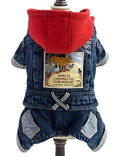 billiga Hundkläder-Hund Jumpsuits Jeansjackor Hundkläder Jeans Blå Denim Kostym För husdjur Herr Dam Cowboy Mode