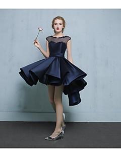 billige Høst 2013-A-linje Illusjon Hals Asymmetrisk Blonder Sateng Tyll Cocktailfest Ball Kjole med Perlearbeid Appliqué av TS Couture®