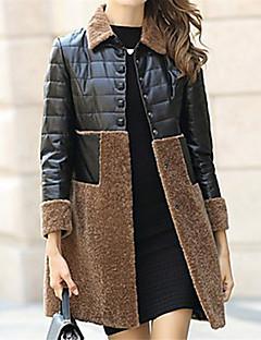 billige -Krave Dame Farveblok Basale Arbejde Plusstørrelser - Frakke