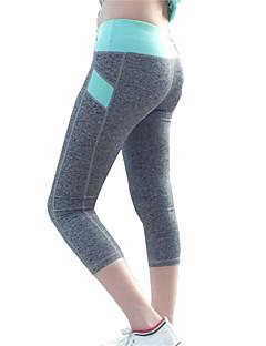 billiga Träning-, jogging- och yogakläder-Dam Yoga byxor - Gul, Grön, Stor sporter Mode Elastan 3/4 Strumpbyxor Pilates, Motion & Fitness, Löpning Sportkläder Snabb tork,