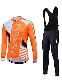 billiga Cykling-Fastcute Herr Långärmad Cykeltröja med Haklapp-tights - Orange Blå Klassisk Cykel Klädesset, Vindtät Håller värmen, Vinter, Fleece / Elastisk