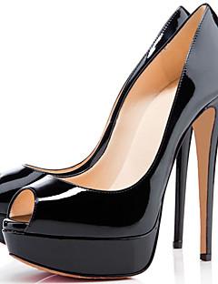 Topuklular-Düğün / Elbise / Parti ve Gece-Topuklu / Burnu Açık / Platform-Patentli Deri-Stiletto Topuk-Siyah / Kırmızı / Badem-Uniseks