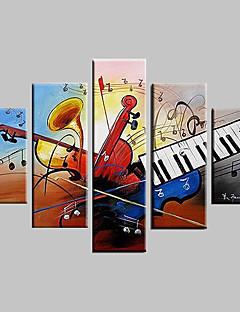 tanie Pejzaże abstrakcyjne-Ręcznie malowane Martwa natura Dowolny kształt Brezentowy Hang-Malowane obraz olejny Dekoracja domowa Pięć paneli
