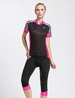 TASDAN Sykkeljersey med shorts Dame Kort Erme Sykkel 3/4 Tights JerseyFort Tørring Pustende 3D Pute Refleksbånd Tilbake Lomme