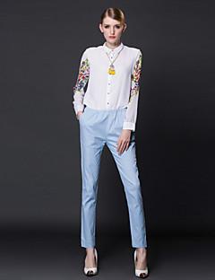frmz kadın çiçek / patchwork beyaz jumpsuitssimple gömlek yaka uzun kollu