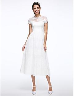 billiga Brudklänningar-A-linje Illusion Halsband Telång Spets Bröllopsklänningar tillverkade med Applikationsbroderi av LAN TING BRIDE® / Liten vit klänning