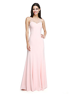 cheap Long Bridesmaid Dresses-Sheath / Column Jewel Neck Floor Length Chiffon Bridesmaid Dress with Beading Crystal Detailing by LAN TING BRIDE®