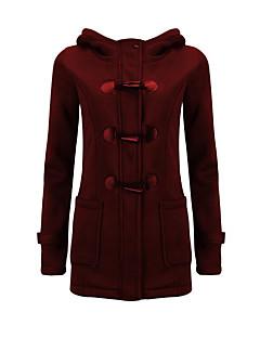 コート レギュラー パッド入り レディース,プラスサイズ ソリッド コットン ポリエステル-シンプル 長袖 フード付き