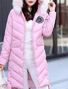 cheap Women's Downs & Parkas-Women's Daily Going out Casual Solid Hooded Long Down, Long Sleeves Winter