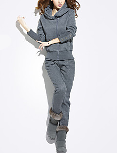 女性 カジュアル/普段着 秋 / 冬 セット パンツ スーツ,活発的 フード付き ソリッド グレイ ポリエステル 長袖 厚手