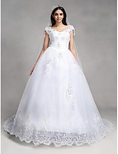 billiga Balbrudklänningar-Balklänning V-hals Kapellsläp Spets / Tyll Bröllopsklänningar tillverkade med Bård / Paljett / Applikationsbroderi av