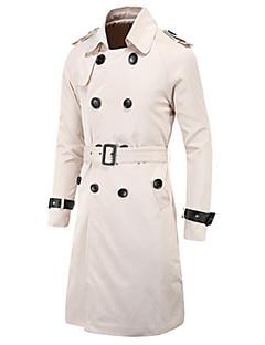 billige Herremote og klær-Bomull Polyester Lang Trenchcoat Ensfarget Vinter Vår Høst Daglig Helg Herre