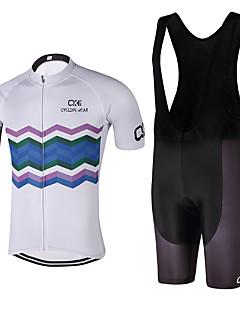billige Sett med sykkeltrøyer og shorts/bukser-Kortermet Sykkeljersey med bib-shorts - Svart Geometrisk Sykkel Klessett, Fort Tørring, Anatomisk design, Ultraviolet Motstandsdyktig,