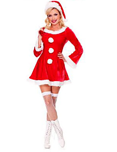 Female Christmas Festival / Holiday Halloween Costumes Red Solid