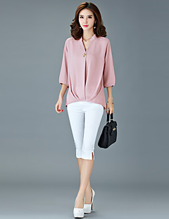Χαμηλού Κόστους Μεγάλα Μεγέθη-Γυναικεία-Γυναικεία Μεγάλα Μεγέθη Μπλούζα Εξόδου Κομψό στυλ street Μονόχρωμο Λαιμόκοψη V
