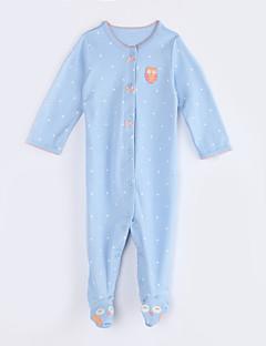 billige Babytøj-Baby En del Daglig Prikker, Bomuld Efterår Langærmet Lyseblå