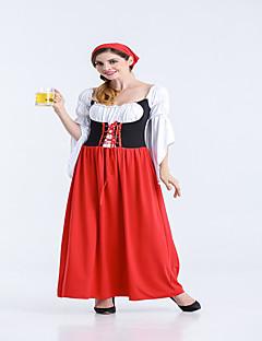 billige Halloweenkostymer-Oktoberfest bayerske Cosplay Kostumer Party-kostyme Dame Sexy Uniformer Flere Uniformer Jul Halloween Karneval Festival / høytid Drakter Svart / Rød Fargeblokk