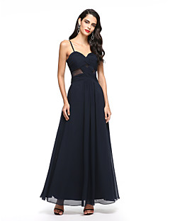 A-Line Spaghetti Straps Ankle Length Chiffon Prom Dress with Pleats by TS Couture®