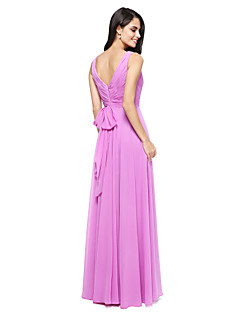 cheap Purple Passion-A-Line V Neck Floor Length Chiffon Bridesmaid Dress with Bow(s) Criss Cross Side Draping by LAN TING BRIDE®