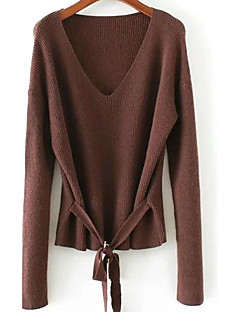 Women's Going out Casual/Daily Simple Cute Regular Pullover,Solid V Neck Long Sleeve Cotton Fall Winter Medium Stretchy