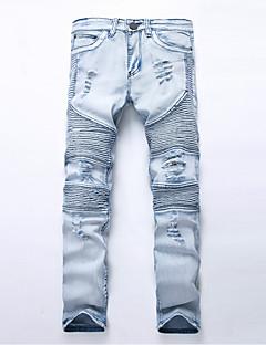 billige Herrebukser og -shorts-Herre Tynn Rett Jeans Bukser Ensfarget