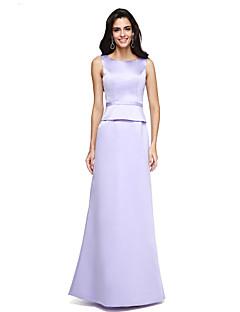 Linia -A Bijuterie Lungime Podea Satin Seară Formală Rochie cu Eșarfă / Panglică de TS Couture®