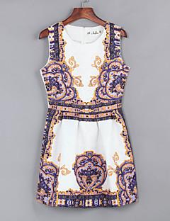 여성의 빈티지 칼집 드레스 프린트 무릎 위 라운드 넥 폴리에스테르