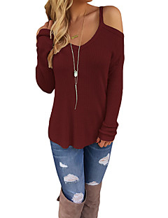 Women's Going out Casual/Daily Sexy Regular Pullover,Solid V Neck Long Sleeves Polyester Spandex Winter Fall Medium Micro-elastic