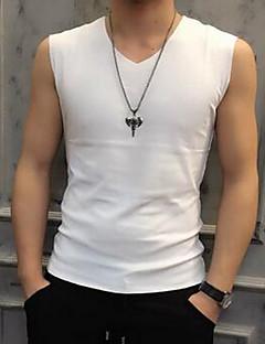 メンズ スポーツ カジュアル/普段着 夏 Tシャツ,シンプル Vネック ソリッド コットン ノースリーブ 薄手